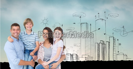 digital composite image of parents carrying