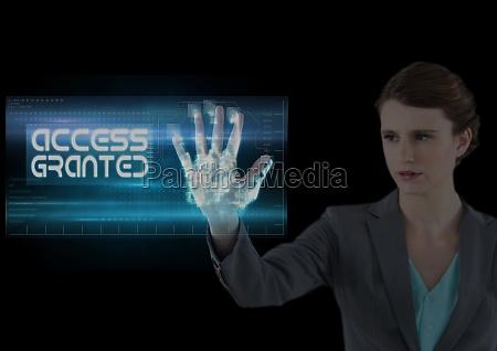 geschaeftsfrau zugang garantiert hand scan