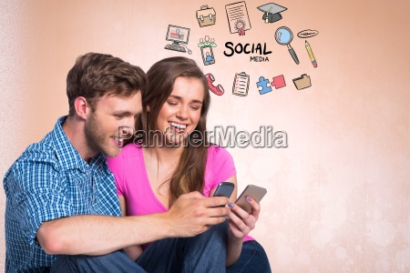 digital composite image of happy couple