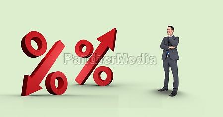 digital composite image of businessman looking