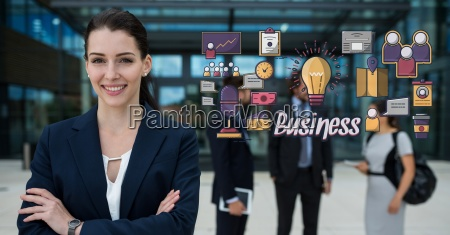 happy businesswoman with arms crossed standing