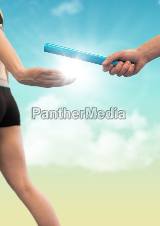 runner and hand with blue baton