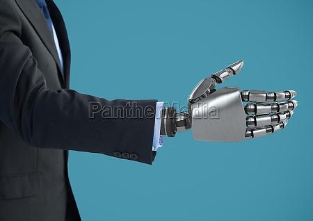 android robotergeschaeftsmannhand offen fuer haendedruck mit