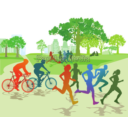 sportliche personen im park