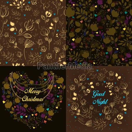brown festliche karten mit floralen mustern