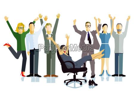 geschaeftsleute feiern einen sieg business erfolg