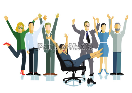 business people celebrate a victory business