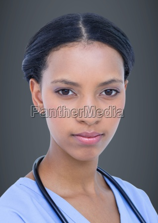 close up of female doctor against