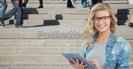 female hipster using tablet pc while