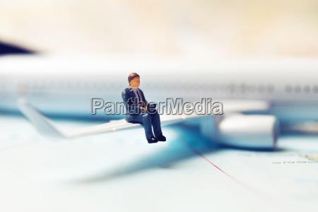 business travel concept businessman sitting