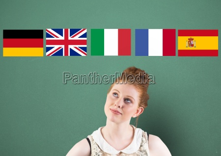 main language flags over young woman