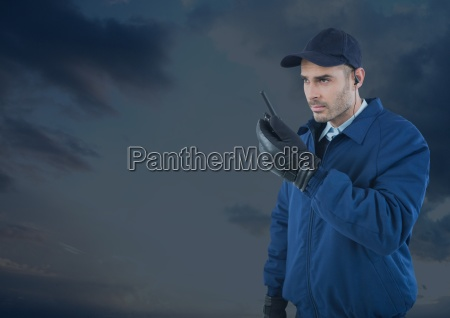 security man outside with blue background