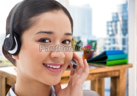 customer service woman with headset in