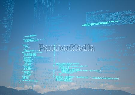 blauer code gegen bergspitzen