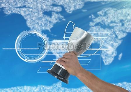 digitales zusammengesetztes bild der hand haltentrophaee