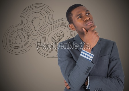 business man thinking against brown background