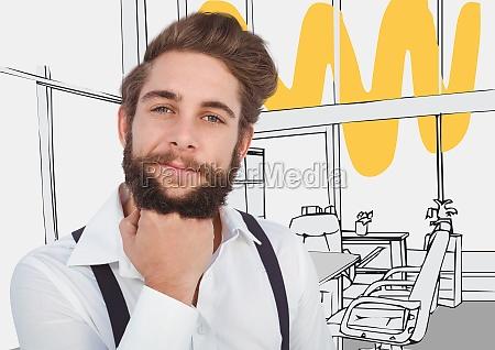 millennial man chin on hand against