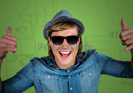 millennial man giving two thumbs up