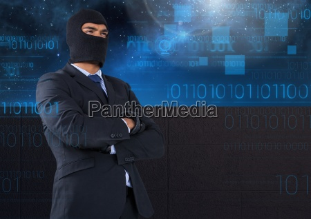 business hacker with arms crossed in