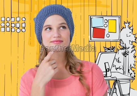 millennial woman thinking against 3d yellow