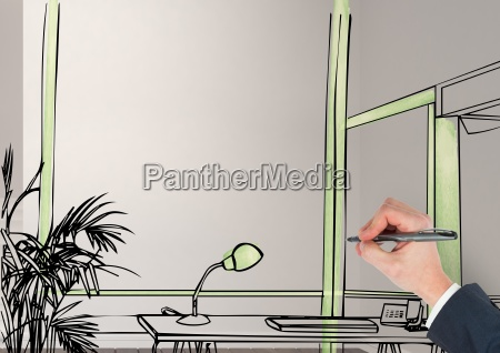 3d hand drawing office fictitious lines