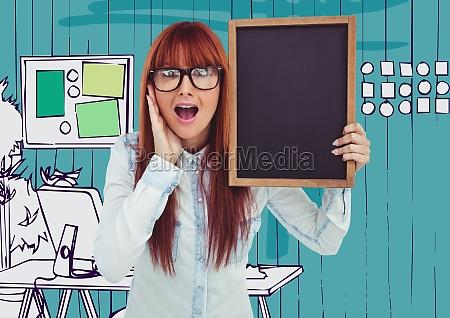 millennial woman with chalkboard against blue