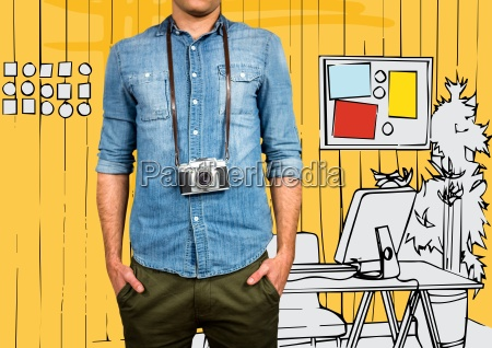 millennial man mid section with camera