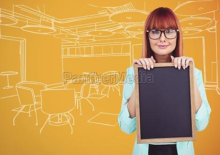 millennial woman with chalkboard against orange