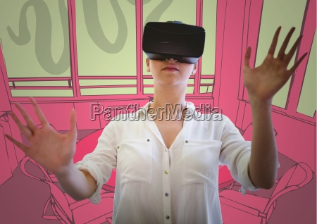 woman in virtual reality headset against