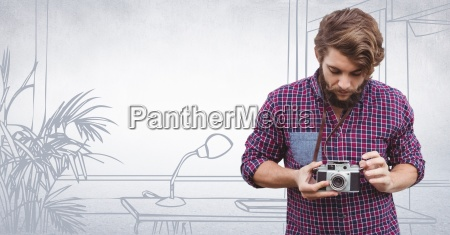 millennial man with camers against 3d