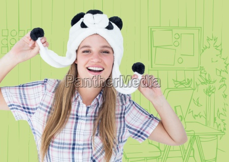 millennial woman in panda hat against