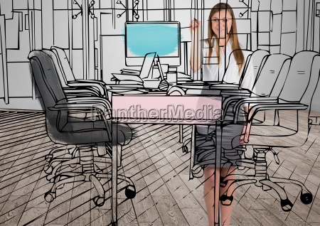 business young happy woman drawing 3d