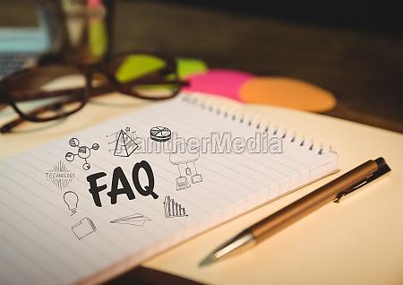 faq doodle auf notizblock mit brille