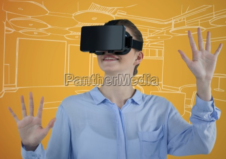business woman in virtual reality headset
