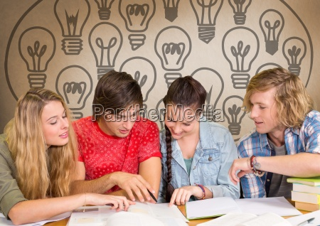 group of students studying in front
