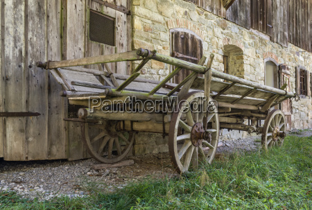 historic wooden horse driven cart in