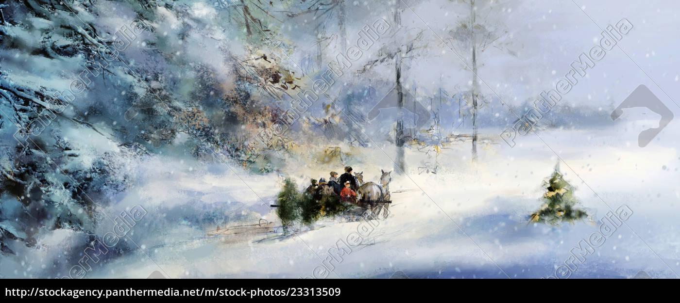 weihnachten winter wald schnee illustration - Lizenzfreies Bild ...