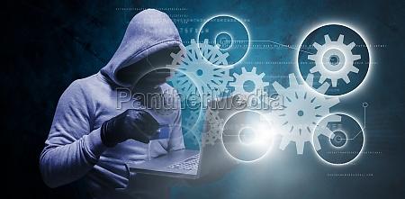 zusammengesetztes bild des hackers der kreditkarte