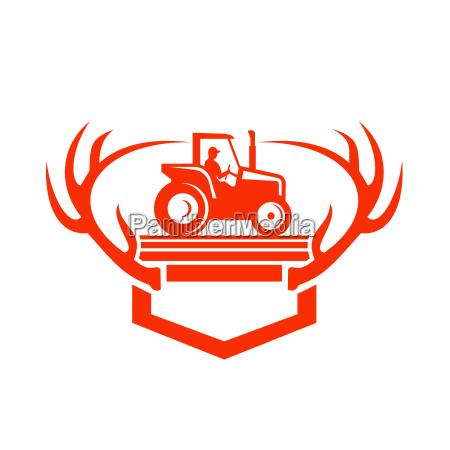 weisser tail deer antler tractor retro