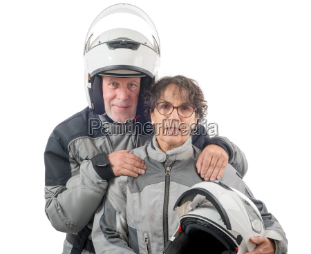 couple senior riders with helmet isolated