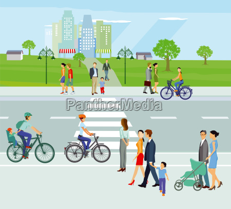 city with pedestrians and cyclists