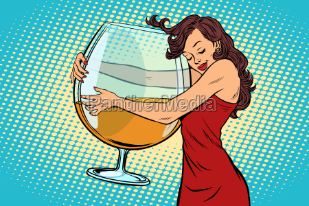 woman hugging a glass of wine