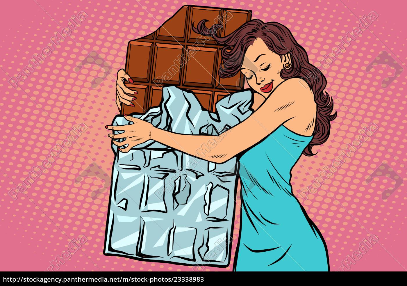 frau, umarmt, schokolade, liebe, süßigkeiten - 23338983