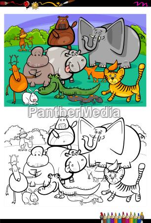 cartoon animal characters coloring book