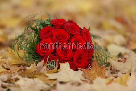 rote rosen als brautstrauss zur hochzeit