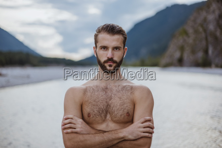 germany bavaria portrait of shirtless young