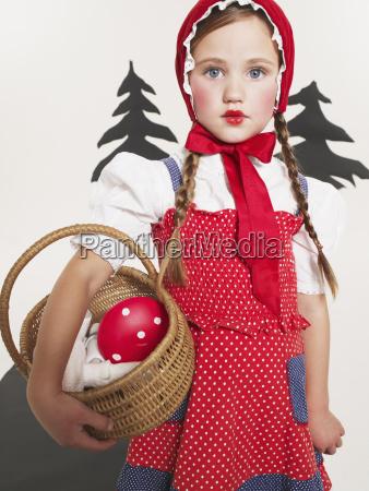 portrait of little girl dressed up