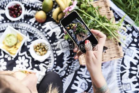 hand fotografieren ein gesundes picknick im