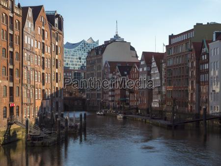 germany hamburg nikolai canal with elbphilharmonie