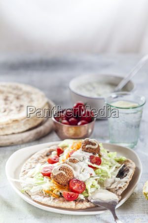 falafel with salat on homemade flat